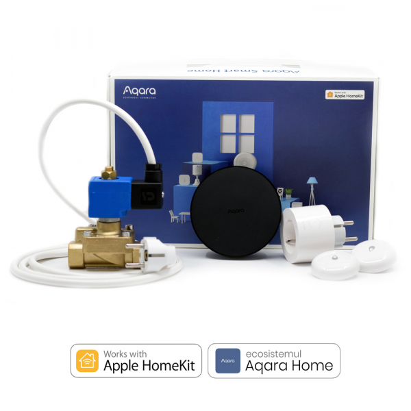 Kit anti-inundatie si alerta Aqara EU 5 in 1, electrovalva inclusa normal deschis, notificari, acces de la distanta, compatibil Aqara Home & Homekit 0