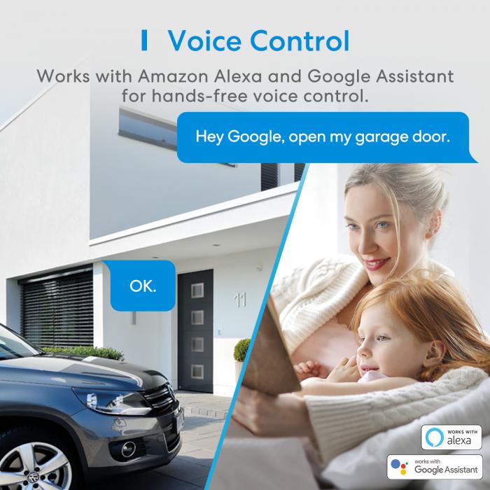 Kit smart automatizare si control usa garaj Merros varianta europeana, WiFi, compatibil Homekit, Google Home, Alexa, SmartThings, IFTTT 3