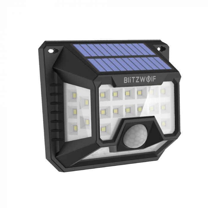 Set lampi solare Blitzwolf BW-OLT3, 2 buc, 1200mAh, 6500K, unghi iluminat  270°, senzor de miscare si de lumina, 200 lumeni, waterproof IP64 1