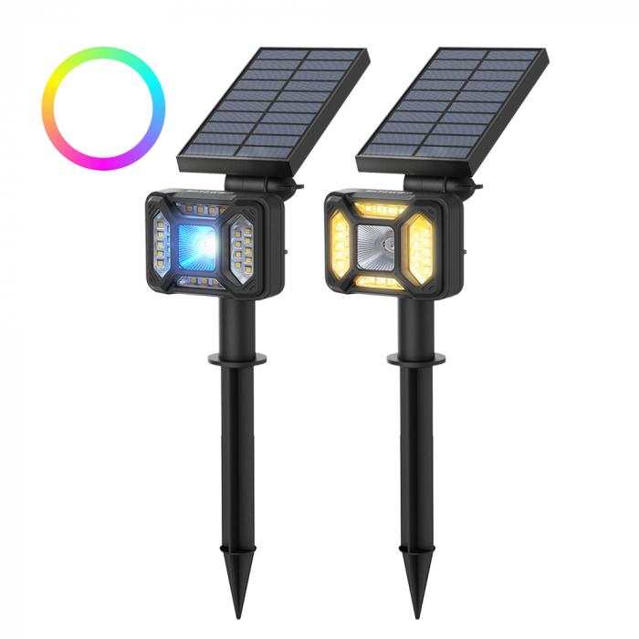 Lampa solara LED Blitzwolf OLT5 pentru gradina, auto RGB plus lumina alba, 1800mAh, waterproof IP44, pana la 15h autonomie 0