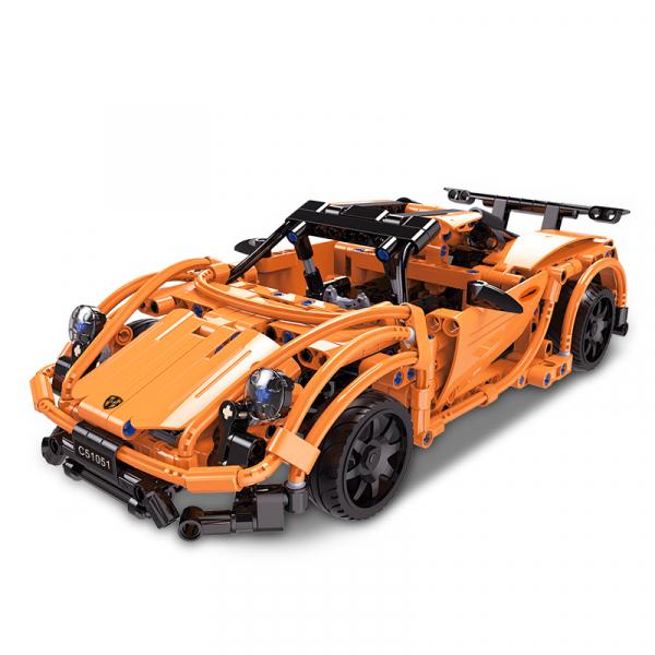 Set constructie masinuta curse RC Porsche 918, telecomanda 2.4Ghz, 421 piese compatibile LEGO, 400 mAh 0