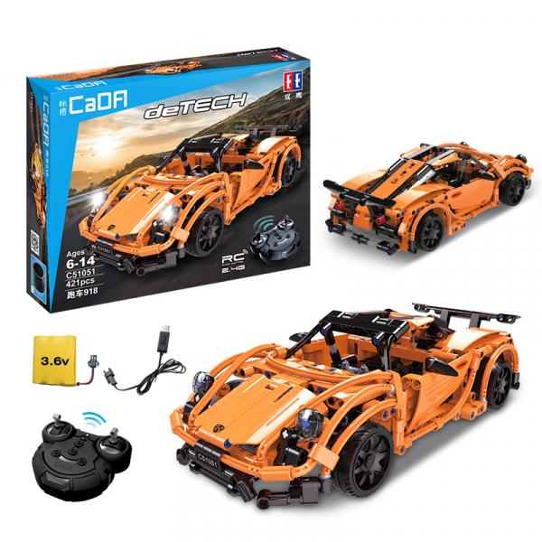 Set constructie masinuta curse RC Porsche 918, telecomanda 2.4Ghz, 421 piese compatibile LEGO, 400 mAh 2
