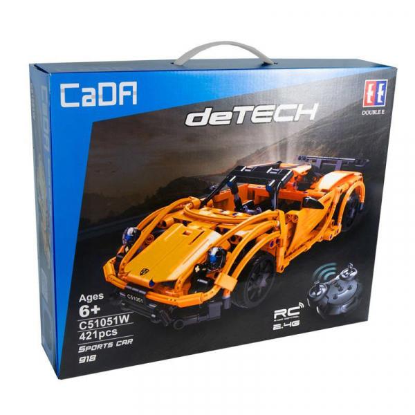 Set constructie masinuta curse RC Porsche 918, telecomanda 2.4Ghz, 421 piese compatibile LEGO, 400 mAh 3