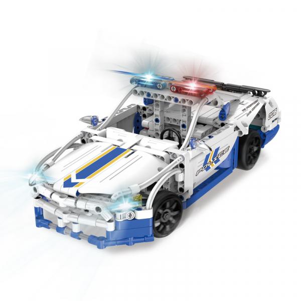 Set constructie masinuta cu telecomanda Ford Police Mustang RC, 2.4Ghz, 430 piese compatibile LEGO, 400 mAh 0