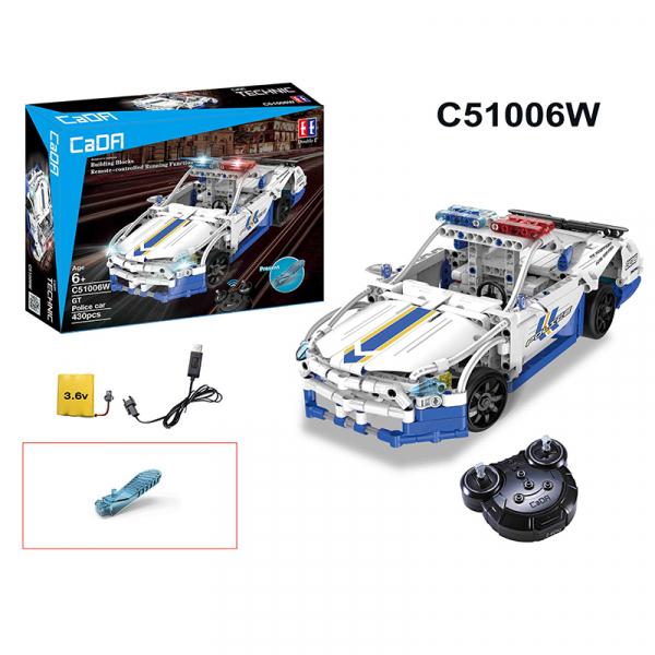 Set constructie masinuta cu telecomanda Ford Police Mustang RC, 2.4Ghz, 430 piese compatibile LEGO, 400 mAh 1