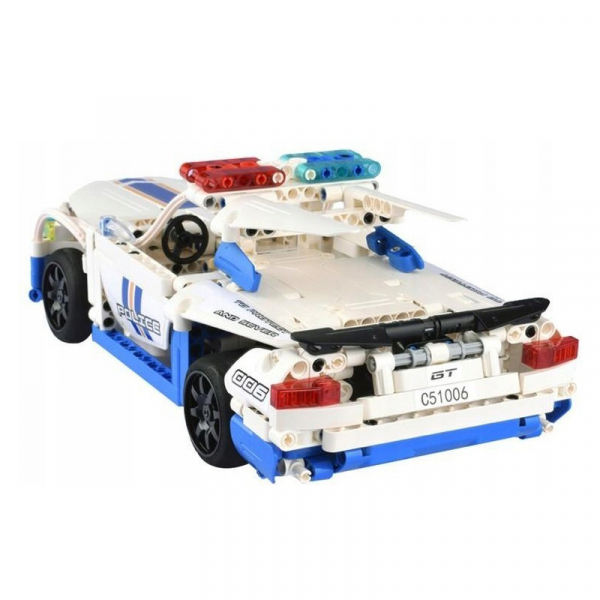 Set constructie masinuta cu telecomanda Ford Police Mustang RC, 2.4Ghz, 430 piese compatibile LEGO, 400 mAh 2