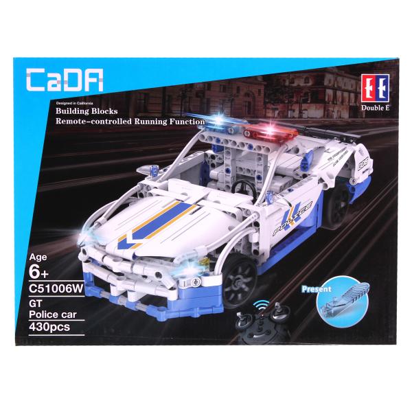 Set constructie masinuta cu telecomanda Ford Police Mustang RC, 2.4Ghz, 430 piese compatibile LEGO, 400 mAh 3