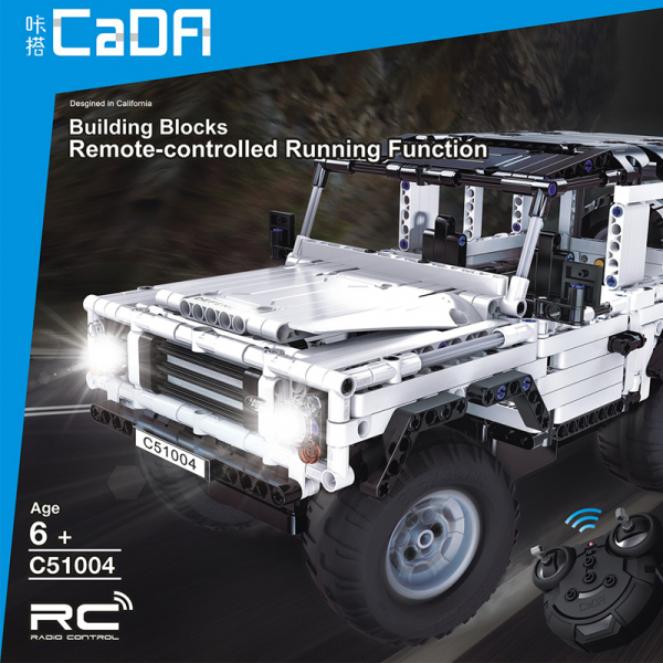 Set constructie Jeep Land Rover, masinuta cu telecomanda, 2,4 GHz, 533 piese compatibile LEGO, 400mAh 3