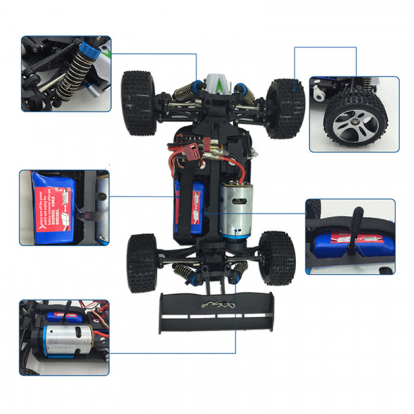 Masinuta RC cu telecomanda BUGGY Off Road, viteza 70Km/h, 2.4 Ghz, scala 1:18, 1400mAh, suspensii independente 3