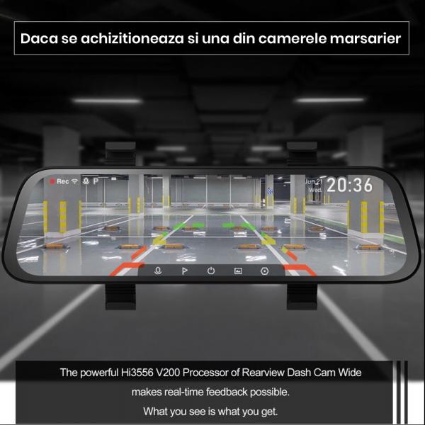 Oglinda retrovizoare cu camera 70mai, resigilata, Dash Cam Wide, 1080p, FOV 130°, varianta EU 2020 3