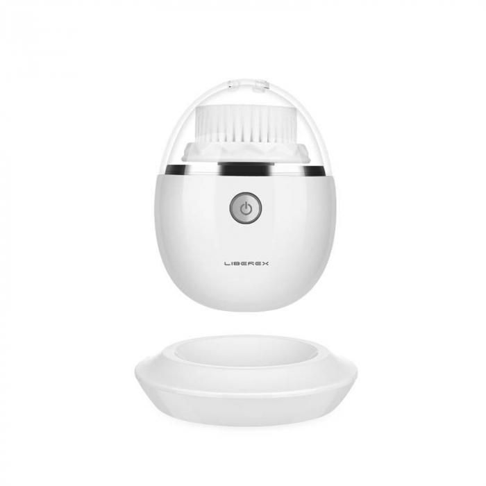 Perie pentru curatare faciala Liberex Egg 3 in 1 cu vibratii ultrasonice, waterproof IPX6, 30 zile autonomie, alba [0]