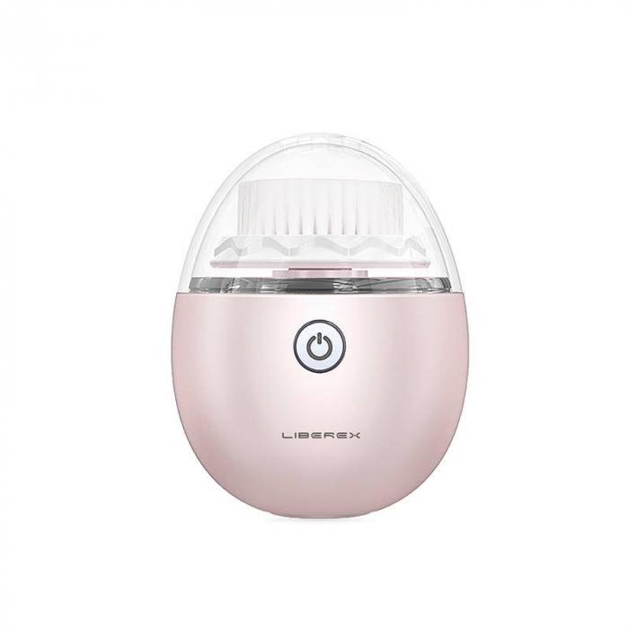 Perie ultrasonica pentru curatare faciala Liberex Egg, 3 perii incluse, waterproof IPX6, 30 zile autonomie, pink 0
