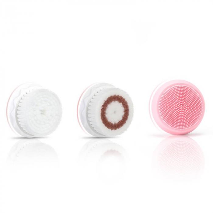 Perie ultrasonica pentru curatare faciala Liberex Egg, 3 perii incluse, waterproof IPX6, 30 zile autonomie, pink 1