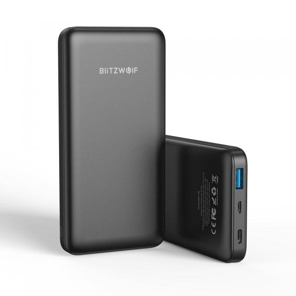 Power Bank Blitzwolf P9, 10000mAh, 18W, QC3.0, PD3.0, Type-C, USB A, Micro USB cu fast charging 0