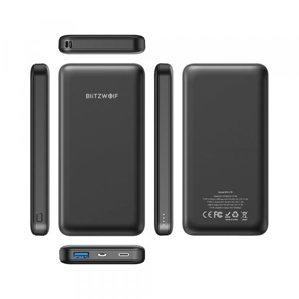 Power Bank Blitzwolf P9, 10000mAh, 18W, QC3.0, PD3.0, Type-C, USB A, Micro USB cu fast charging 2