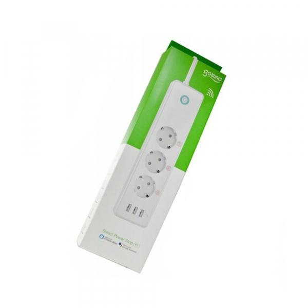 Prelungitor smart Gosund EU, WiFi, 16A, 3680W, monitorizare consum, 3 sloturi priza, 3 x USB Quick Charge, compatibil Smart Life, Google Home, Alexa 3