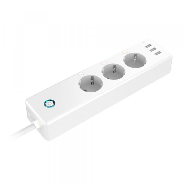Prelungitor smart Gosund EU, WiFi, 16A, 3680W, monitorizare consum, 3 sloturi priza, 3 x USB Quick Charge, compatibil Smart Life, Google Home, Alexa 1