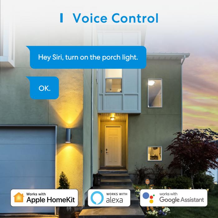 Priza dubla de exterior smart Meross IP44, Wi-Fi, 10A, compatibila Apple HomeKit, Google Home, Alexa, SmartThings, IFTTT 5