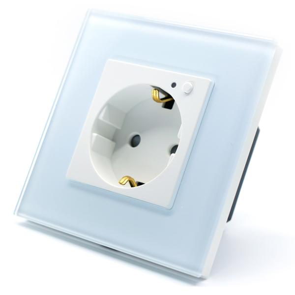 Priza inteligenta Vhub, rama din sticla, Wireless 2.4GHz, 16A, cu protectie, compatibila Google & Alexa, alba 0