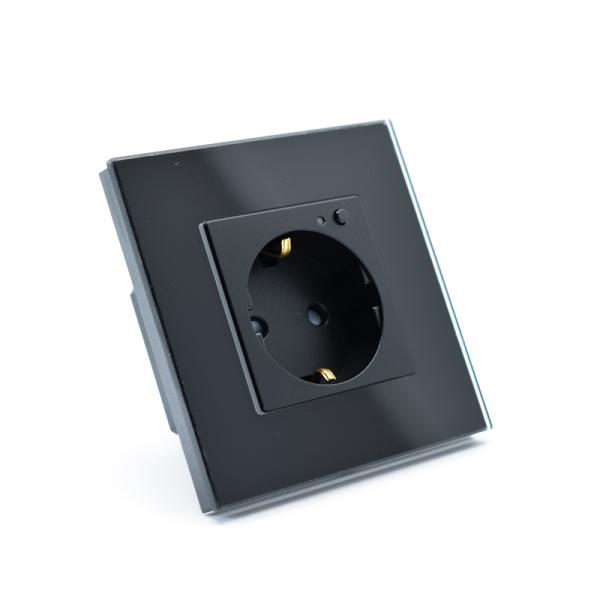 Priza inteligenta Vhub, rama din sticla, Wireless 2.4GHz, 16A, cu protectie, compatibila Google & Alexa, negru 1