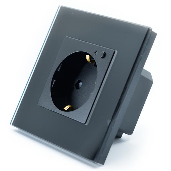 Priza inteligenta Vhub, rama din sticla, Wireless 2.4GHz, 16A, cu protectie, compatibila Google & Alexa, negru 0
