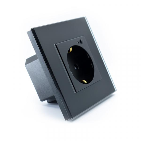 Priza inteligenta Vhub, rama din sticla, Wireless 2.4GHz, 16A, cu protectie, compatibila Google & Alexa, negru 5