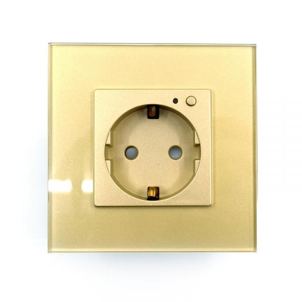 Priza inteligenta Vhub, rama din sticla, Wireless 2.4GHz, 16A, cu protectie, compatibila Google & Alexa, gold 1