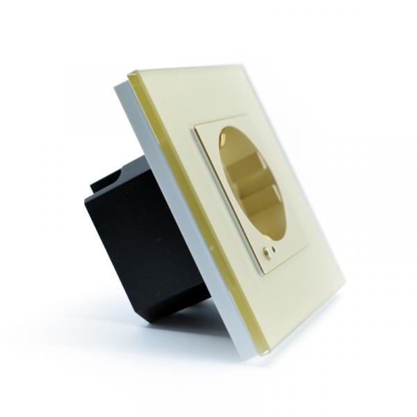 Priza inteligenta Vhub, rama din sticla, Wireless 2.4GHz, 16A, cu protectie, compatibila Google & Alexa, gold 2
