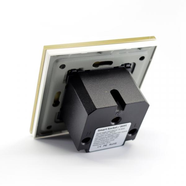 Priza inteligenta Vhub, rama din sticla, Wireless 2.4GHz, 16A, cu protectie, compatibila Google & Alexa, gold 4
