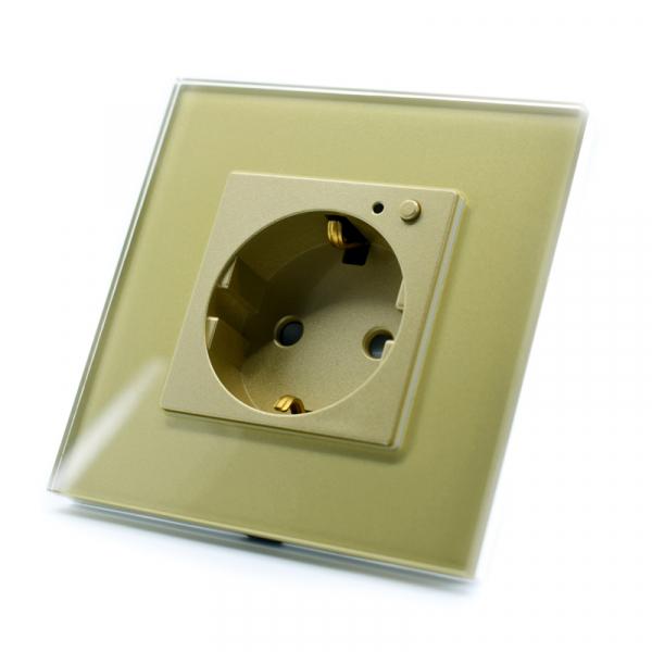 Priza inteligenta Vhub, rama din sticla, Wireless 2.4GHz, 16A, cu protectie, compatibila Google & Alexa, gold 6