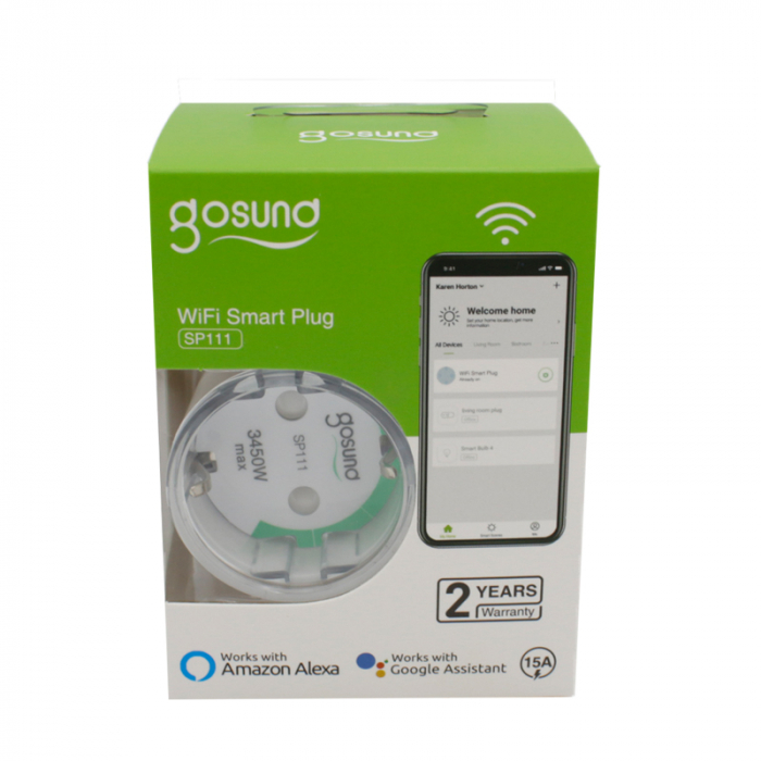 Priza inteligenta Wi-Fi Gosund SP111 EU, 3450W, 15A, monitorizare consum, compatibila Tuya, Smart Life, Google Home, Alexa 1