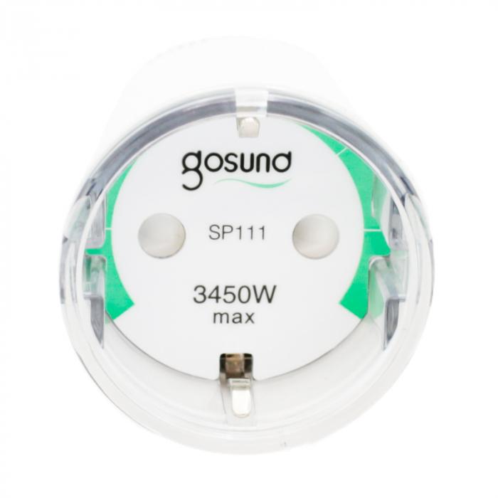 Priza inteligenta Wi-Fi Gosund SP111 EU, 3450W, 15A, monitorizare consum, compatibila Tuya, Smart Life, Google Home, Alexa 4