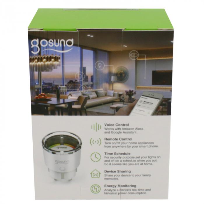 Priza inteligenta Wi-Fi Gosund SP111 EU, 3450W, 15A, monitorizare consum, compatibila Tuya, Smart Life, Google Home, Alexa 3
