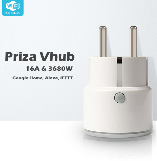 Priza smart Vhub, WiFi 2.4GHz, acces de la distanta, 16A & 3680W, compatibila Google Home, Alexa 2