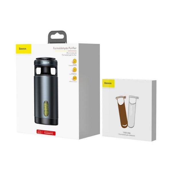 Pachet purificator aer auto Baseus anti-formaldehida, eliminare mirosuri, tester inclus, negru 1