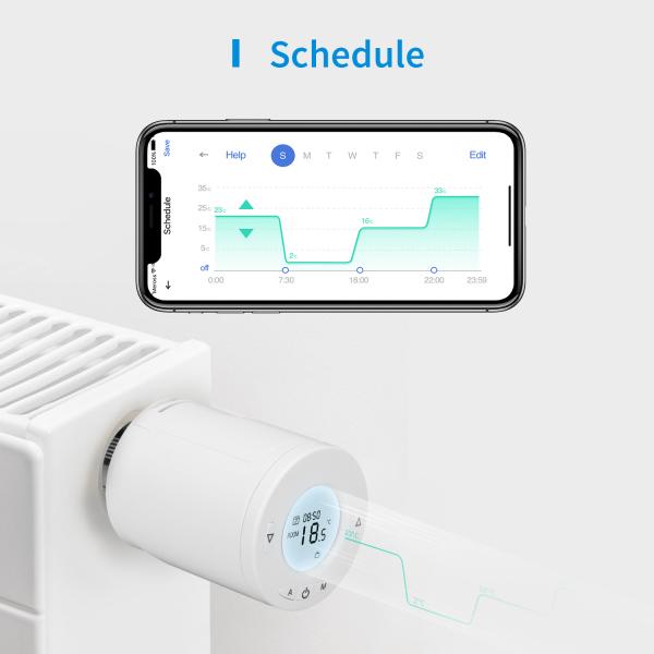 Robinet suplimentar inteligent cu termostat pentru kitul Meross, acces din aplicatie, compatibil Alexa, Google Home, IFTTT, EU 3