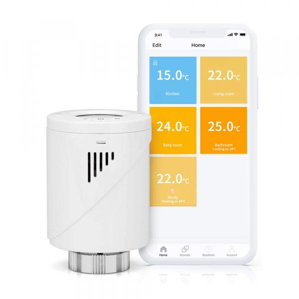 Robinet suplimentar inteligent cu termostat pentru kitul Meross, acces din aplicatie, compatibil Alexa, Google Home, IFTTT, EU 0