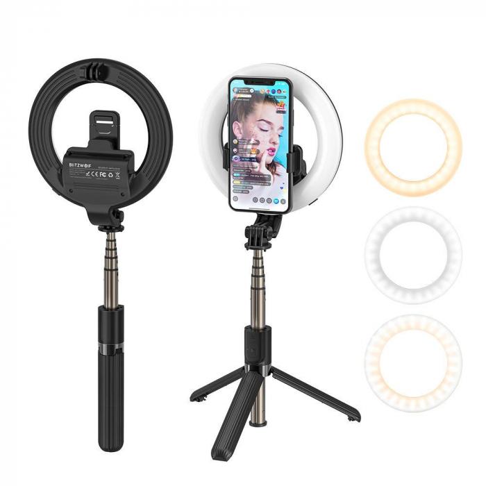 Selfie stick & tripod 3 in 1 BlitzWolf BW-BS8 Pro cu inel LED, 1200 mAh, telecomanda inclusa 3