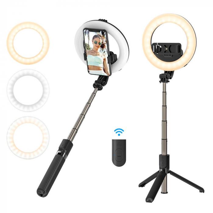 Selfie stick & tripod 3 in 1 BlitzWolf BW-BS8 Pro cu inel LED, 1200 mAh, telecomanda inclusa 2