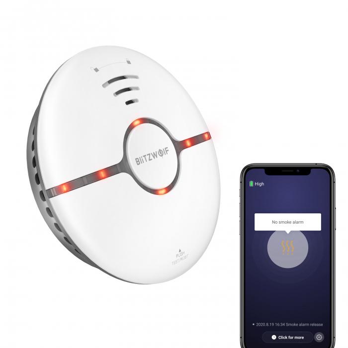 Senzor smart detectie fum Blitzwolf BW-IS7, Wi-Fi, notificari, compatibil ecosistem smart home Smart Life & Tuya, detectie 360° 0