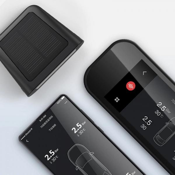 Sistem smart Xiaomi 70mai TPMS monitorizare presiune roti, 4 senzori, 500mAh, incarcare solara, bluetooth 4
