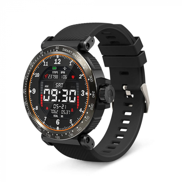 "Smartwatch BlitzWolf BW-AT1 Sport, Bluetooth 5.0, 200 mAh, IP68, ecran rotund 1.3"", Negru [0]"