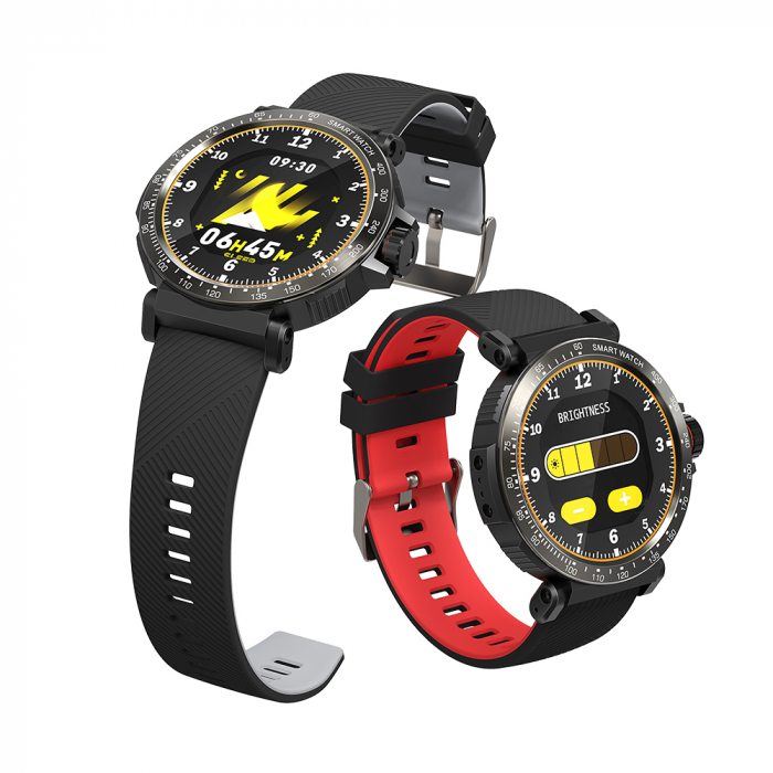 "Smartwatch BlitzWolf BW-AT1 Sport, Bluetooth 5.0, 200 mAh, IP68, ecran rotund 1.3"", Negru [1]"