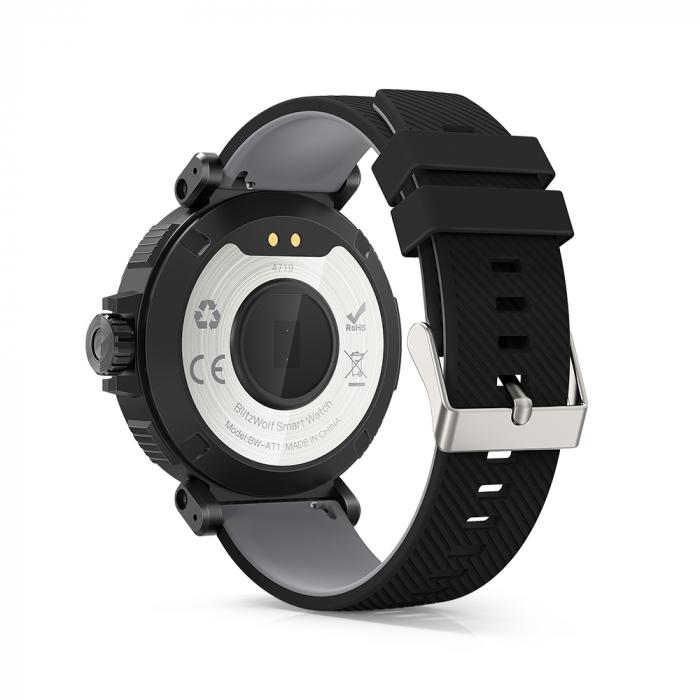 "Smartwatch BlitzWolf BW-AT1 Sport, Bluetooth 5.0, 200 mAh, IP68, ecran rotund 1.3"", Negru [2]"
