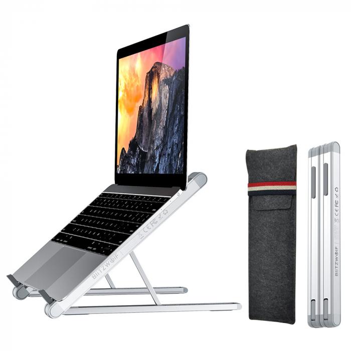 Stand pentru laptop pliabil Blitzwolf BW-ELS1, 5 unghiuri ajustabile, suporta pana la 20kg, paduri anti-alunecare [1]