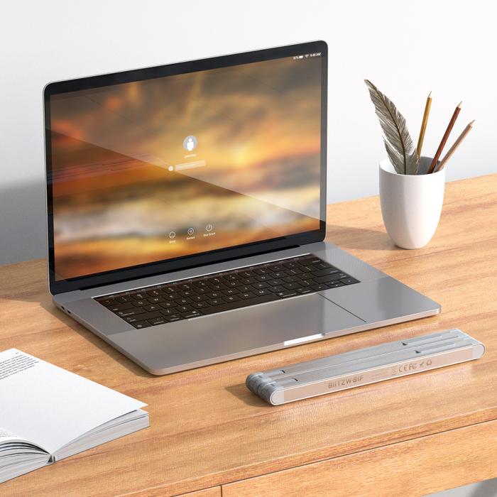 Stand pentru laptop pliabil Blitzwolf BW-ELS1, 5 unghiuri ajustabile, suporta pana la 20kg, paduri anti-alunecare [4]