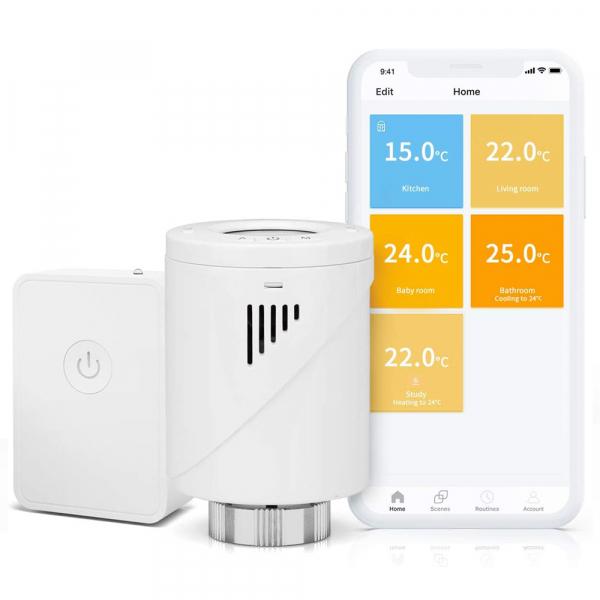 Starter kit Meross, robinet smart pentru calorifer cu termostat, hub inclus, compatibil  Alexa, Google Home, IFTTT, EU 0