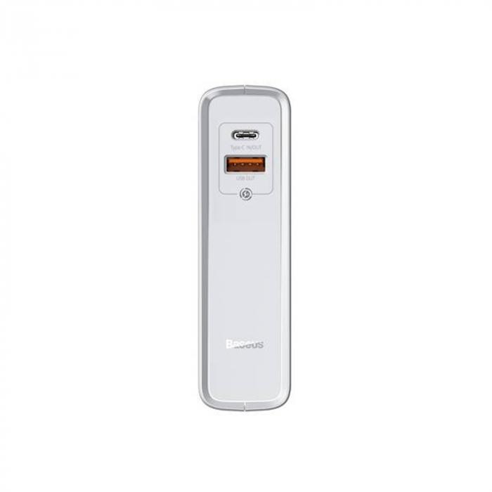 Statie incarcare Baseus tehnologie GaN 2 in 1, powerbank si incarcator C+U, protectii integrate, 1000mAh 45W, EU Alb 2