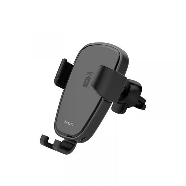 Suport & Incarcator wireless auto Havit pentru telefoane, aliaj aluminiu si ABS, QI, inel LED 0
