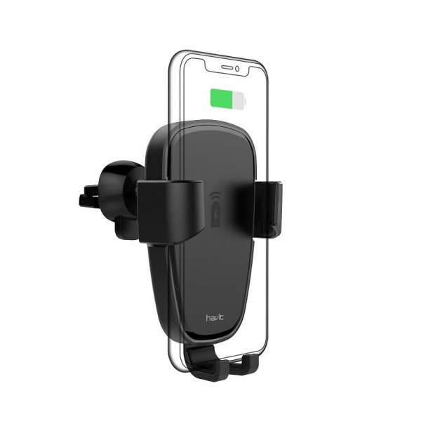Suport & Incarcator wireless auto Havit pentru telefoane, aliaj aluminiu si ABS, QI, inel LED 1